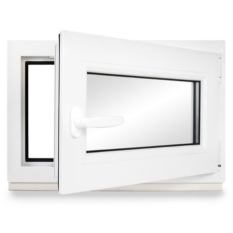 Premium 40 cm 2 fach Verglasung Alle Gr/ö/ßen Dreh Kipp Wei/ß Fenster Kellerfenster Kunststofffenster Breite BxH 40x75 DIN rechts