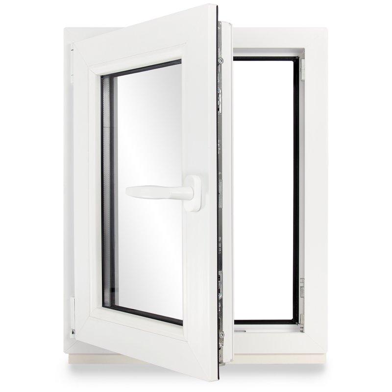 wei/ß 3-fach-Verglasung Kunststoff Fenster 60mm Profil verschiedene Ma/ße Kellerfenster BxH: 65x55 cm DIN links schneller Versand