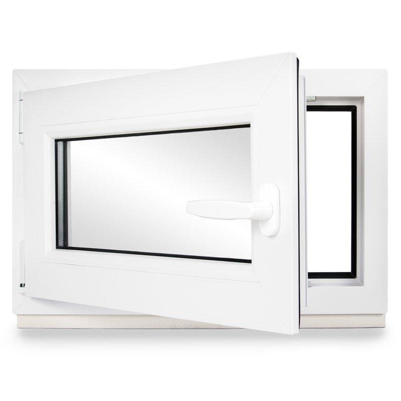 DIN rechts Fenster verschiedene Ma/ße wei/ß Kellerfenster Kunststoff 60mm Profil schneller Versand 3-fach-Verglasung BxH: 55x55 cm