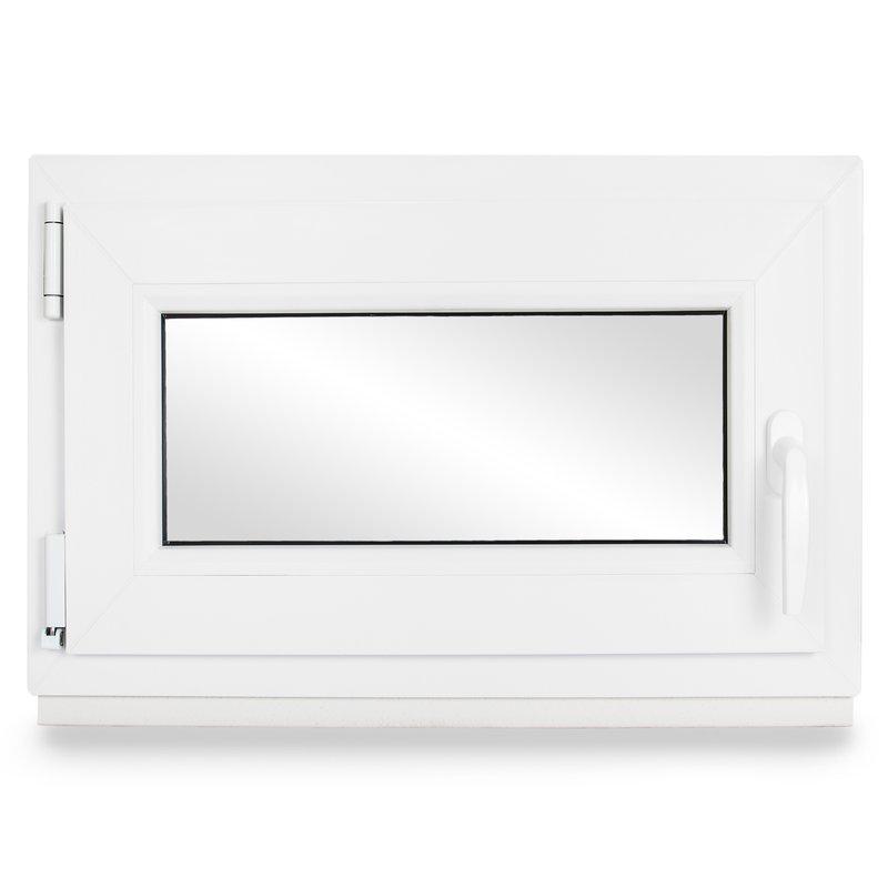 Kellerfenster verschiedene Ma/ße 60mm Profil wei/ß BxH: 75x45 cm Kunststoff Fenster schneller Versand DIN rechts 2-fach-Verglasung