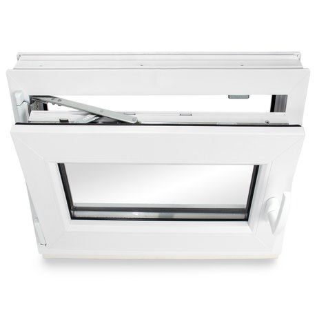 Dreh-Kipp BxH: 45x70 cm DIN Links 3-fach-Verglasung Wei/ß Breite: 45 cm x H/öhe: Alle Gr/ö/ßen Premium Kellerfenster Kunststofffenster Fenster