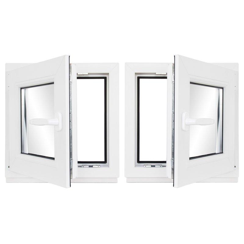 DIN Links Kellerfenster Mahagoni Holzoptik BxH: 80 x 50 cm Fenster // wei/ß Braun Kunststoff